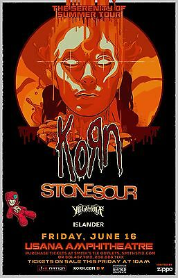 "KORN ""THE SERENITY OF SUMMER TOUR"" 2017 SALT LAKE CITY CONCERT POSTER-Nu Metal"