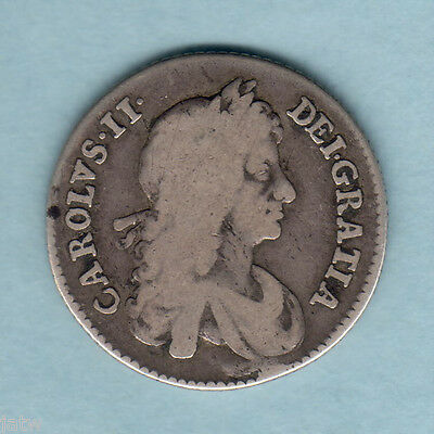 Great Britain. 1668  - Charles 11 Shilling..  aF/F