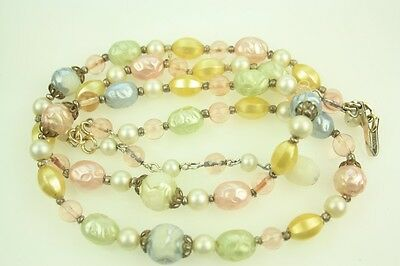 Vintage 60s Faux Pearl & Fruit Salad Pastel Double Strand Beaded Necklace
