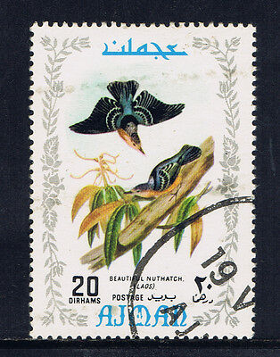 Ajman 1970 Birds Series 20 Dirham Beautiful Nuthatch, Laos (7) CTO