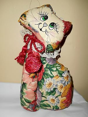 Hand Painted & Made Sweet Soft Floral & Lace Sculpture Plush Kitty Cat