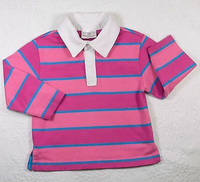 Hanna Andersson ~ Boy's 2T - 3T (90 cm) Pink Striped Polo Shirt