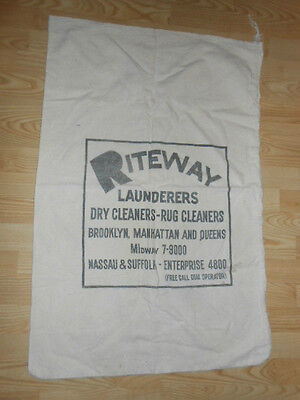 XL Vintage 50's Riteway Industrial Laundry Bag New York Dry Cleaning Advertising