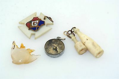 4pc Victorian Antique Fob Charm Lot Fish Working Compass Bottle Mechanics