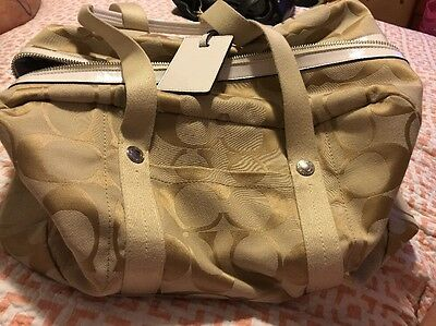 COACH Signature Duffel Diaper Gym Weekender Travel Bag Carry On