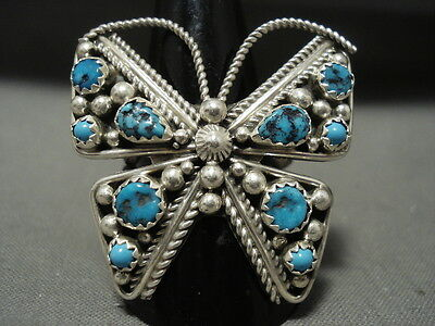 Enormous Vintage Navajo Turquoise Butterfly Silver Ring Old