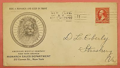 1900 Monarch Bicycles Advertising Cover Ny City Cancel