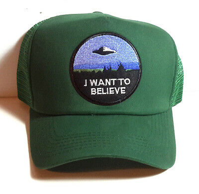 """X-Files """"I Want to Believe"""" GREEN Trucker style Baseball Cap/Hat- FREE S&H"""