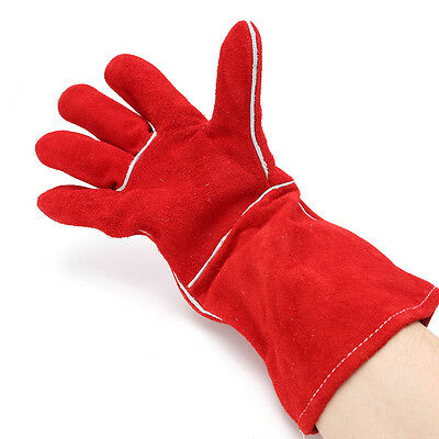 Welding Gloves Red Leather Protect Welder Hands Heat Insulation Wear-resisting