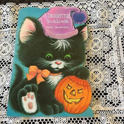 Vintage Greeting Card Halloween Daughter Black Cat Pumpkin