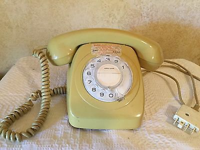RETRO ** Vintage ** ROTARY DIAL YELLOW MUSTARD TELEPHONE ~ WORKING ORDER