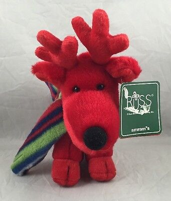 Grog Red Reindeer Striped Scarf Russ Berrie Mini Soft Plush Christmas New 6.25