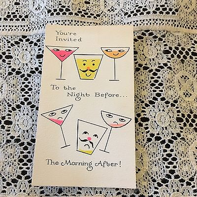 Vintage Greeting Card Birthday Party Invite Drink Glasses Anthropomorphic