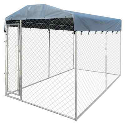 vidaXL Steel Dog Cage Kennel House Crate Roofing Fence Pet Enclosure 4x2 m