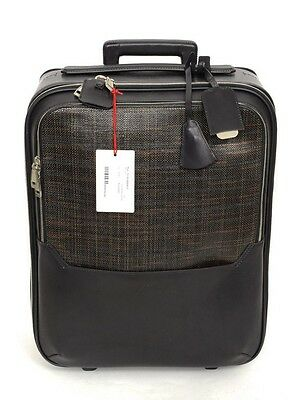 """BRIONI Intrecciato Leather 18"""" Rolling Suitcase Trolley Bag Trunk Luggage NWT"""