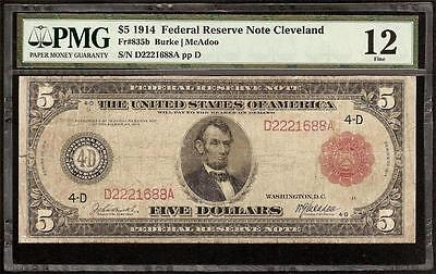 LARGE 1914 $5 DOLLAR BILL BIG FEDERAL RESERVE NOTE RED SEAL Fr 835b PMG GRADED