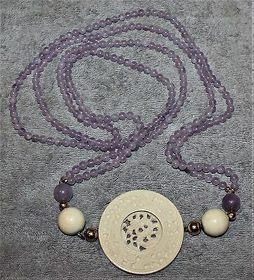 Unique Jade Double Strand Lavender & 14K Beads Carved Dragon Pendant Spin Wheel