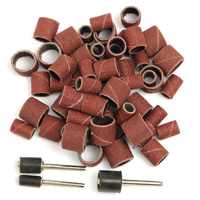 "63PCS 80 GRIT 1/2''1/4""3/8""Sanding Bands Kit + 3 Mandrels For DREMEL, Nail Art"