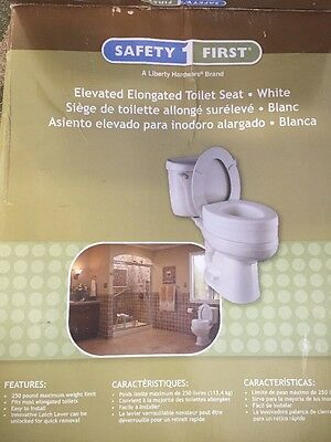 Safety First Elevated Elongated Toilet Seat White In Color Great For Elderly