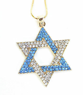 Necklace & pendant rhodium Gold.israel Jewish Star of David & Clear/Blue stones