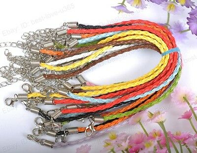 FREE SHIP 10pcs Mix Color Braided Leather Bracelets Cord 190MM BE662