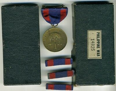 Numbered Boxed US Army Philippine Insurrection Medal Combat Infantry Span Am War