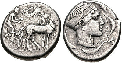 SICILY, Syracuse. Second Democracy. 466-405 BC. Silver Tetradrachm. aVF.