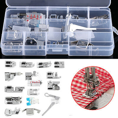 15pcs Domestic Sewing Machine Presser Feet Set Walking Foot Kit Universal w/ Bo