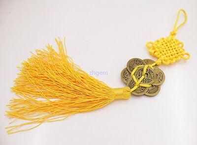"""11"""" inches china Knot brass metal 7-Emperor Coin yellow tassel Wealth lucky 1pcs"""
