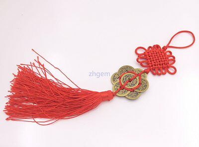 """11"""" inches china Knot brass metal 7-Emperor Coin red tassel Wealth lucky 1pcs"""