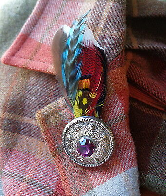 Very Early SCOTTISH SHIELD BROOCH With FEATHERS PURPLE RHINESTONE - A Celtic Pin