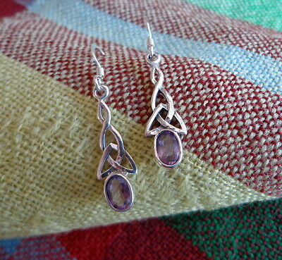 925 Sterling Silver and Natural Amethyst Drop Earrings Delicate  Celtic Knots