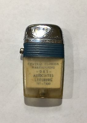 "Vintage Scripto Clear View Advertising Flint And Fluid 2 4/5"" Lighter"