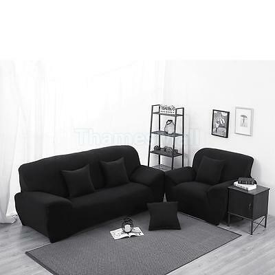 Spandex Stretchy Lounge Sofa Cover 3-Seater Couch Settee Slipcover Black