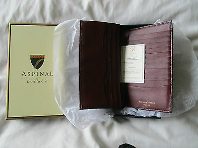 Aspinal Of London Wallet Card Holder Purse Dark Red Brown Leather Original Box