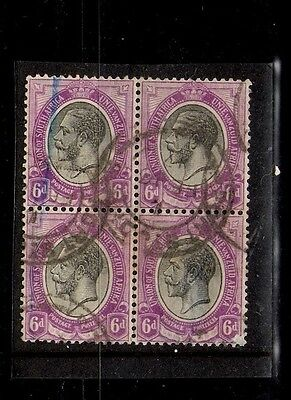 South Africa - Kings Heads - block of 4 - 6d - purple and grey