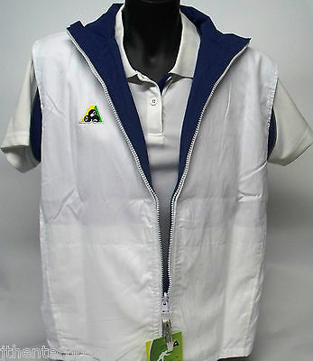 Reversible White / Royal Microfibre Vest  Bowls Australia Vest Zip up & Pockets