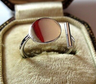 Vintage Style Jewellery Solid Sterling Silver Geometrical Abstract Ring 8 Q