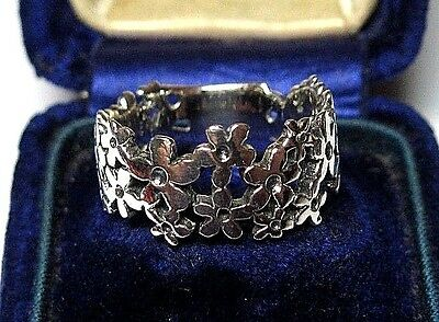 Vintage Style Jewellery Solid Sterling Silver Pierced Flowers Ring Size 7 / O