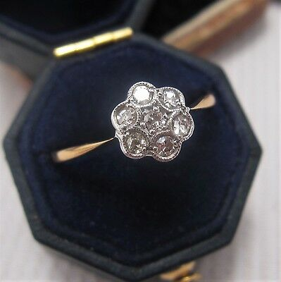 Edwardian Daisy Diamond Ring in 18ct & Plat