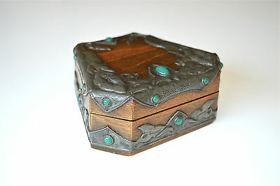 Original Art Nouveau box with pewter mounts and glass jewels c.1890-1900