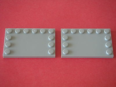 Lego 2 Light Bluish Gray tiles 4x6 w// studs on edges Neuf NEW REF 6180 SET 10179