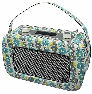 Kitsound Jive 1950s Retro DAB FM Radio Floral Twin Alarm Mains or Battery