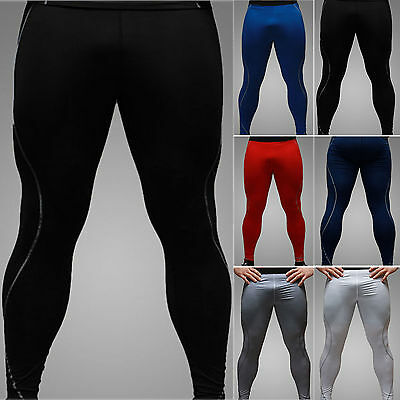 Mens Sports Gym Skin Tights Compression Base Under Layers Pants Athletic Apparel