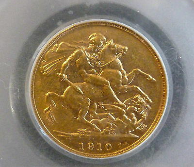 Gold Bullion Sovereign Edward VII 1910 CGS Encapsulated Graded 40 ( VF )