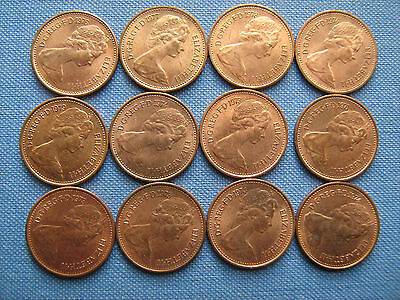 12 DECIMAL HALFPENNIES WITH GOOD LUSTRE £1.99p post free