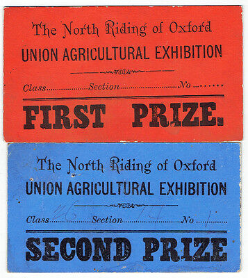 Early First & Second Prize Cards North Riding of Oxford Union Agr. Exhibition