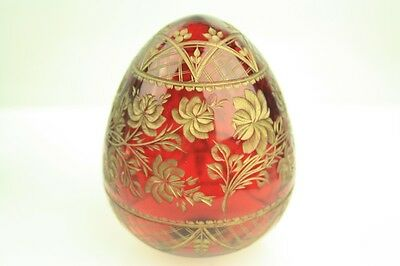Vintage Russian Imperial Faberge Gilt Etched Ruby Glass Floral Art Egg & Label