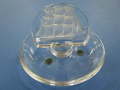 Lalique French Ring / Pin Tray with Frosted Ship & Crystal Base Vintage