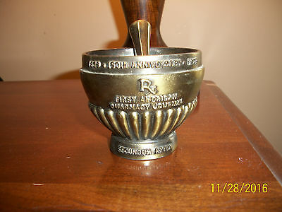 Vtg Brass  Mortar & Pestle Secundum Artem Apothocary American Journal Pharmacy